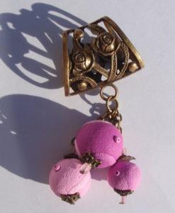Bélière de foulard rose