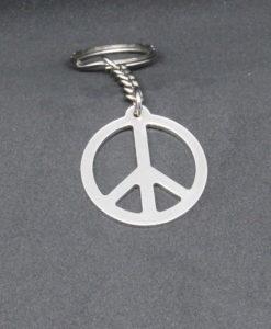 porte-clé peaceandlove argenté garvé