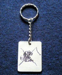 porte-clé pêcheur argenté gravé