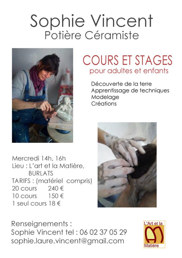Cours/Stages modelage terre par Sophie Vincent