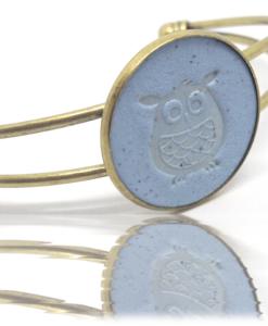 Bracelet Motif Chouette - pastel et bronze