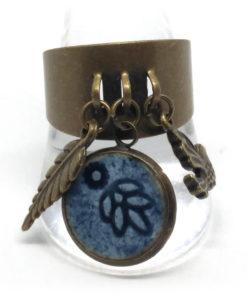 Bague pampilles bronze et bleu de pastel