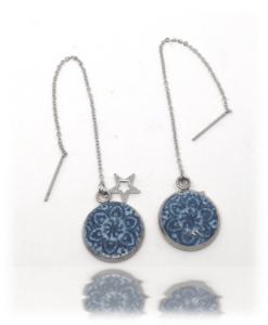 Boucles d'oreilles vénitienne au bleu de pastel