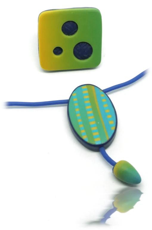 Parure insolite jaune et turquoise
