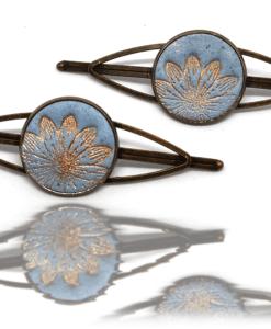 Barrette Bronze et Bleu de Pastel